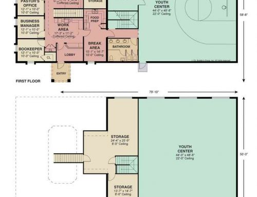 Colored Floor Plan of a Commercial Building