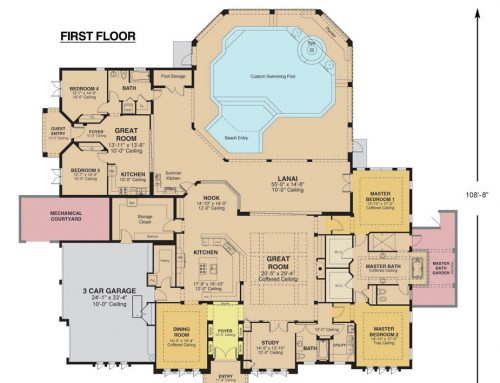 Colored Floor Plan for Residential Buildings