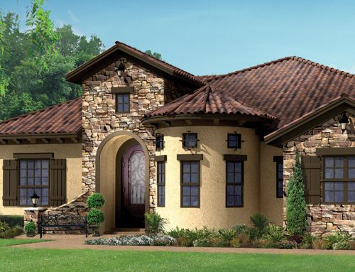 Residential Exterior Rendering: Numerous architectural details and s-tile roofing