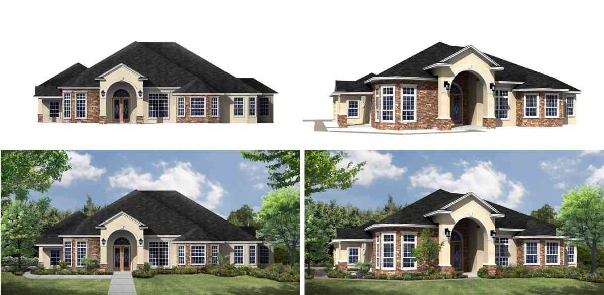 Comparing 2D and 3D renderings with and without landscaping