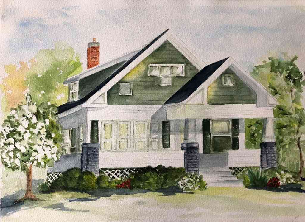 Rankin Farmhouse traditional watercolor from reference images. Watercolor architectural illustration