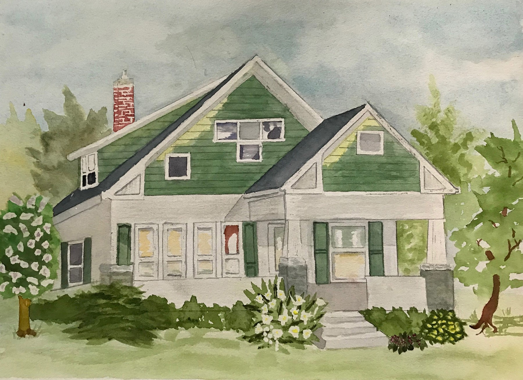 Farmhouse Rendering using traditional watercolor technique